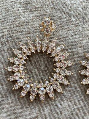 Zara Boucle d'oreille incrustée de pierres argenté
