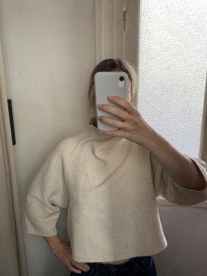 Zara Ponczo z dzianiny w kolorze białej wełny-jasnobeżowy