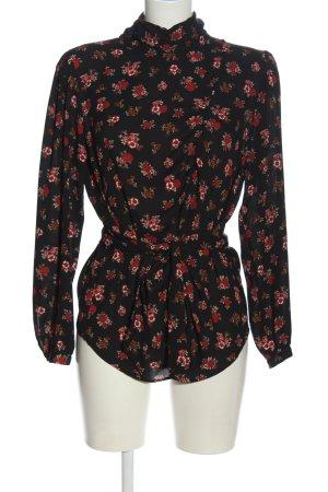 Zara Blusa de cuello alto negro-rojo estampado repetido sobre toda la superficie