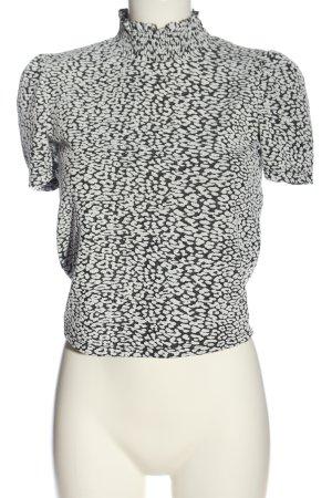 Zara Blouse met opstaande kraag wit-zwart casual uitstraling