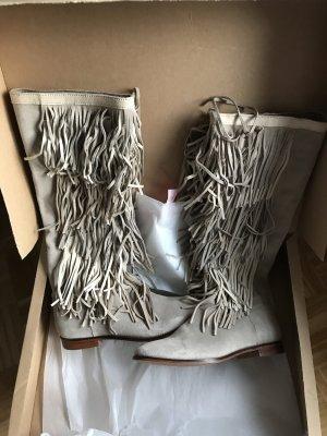 Zara Stiefel echtes Wild-leder Fransen grau beige Naturfarbe Gr. 40 neuwertig