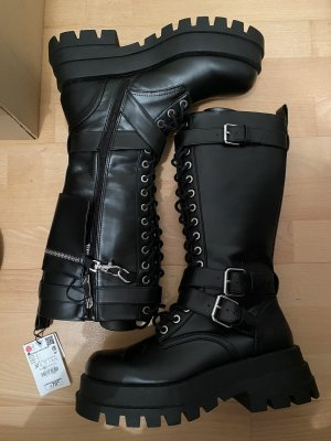 Zara Woman Biker Boots black