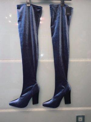 Zara Stiefel in gr 39 Farbe Grau Blau Neu mit Etikett Velour