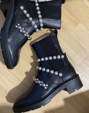 Zara Stiefel Lederstiefel mit Perlen