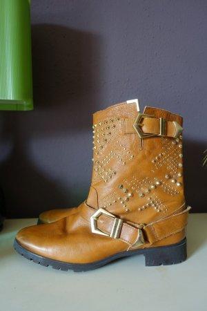 Zara Stiefel, Stiefeletten, braun, gold, Nieten, Biker, Country, Leder