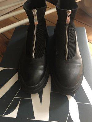 Zara Stiefel zippy Boots Anke Leder 37 Sold out Blogger Stiefeletten