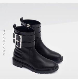 ZARA Stiefeletten Biker Ankle Boots Blogger Hipster Instagram