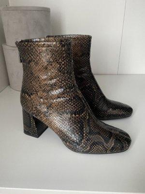 Zara Stiefeletten Boots 37 schwarz braun Schlangen Optik