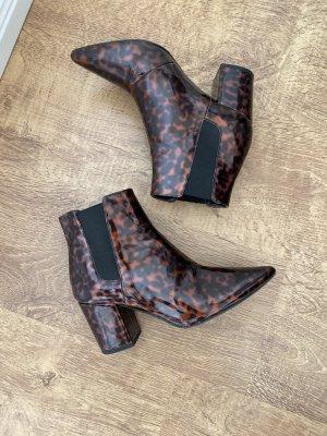 Zara Stiefeletten Boots Leo Lack Braun Schwarz 37