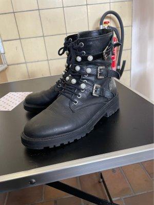 Zara Stiefeletten mit Perlen / Biker-Boots