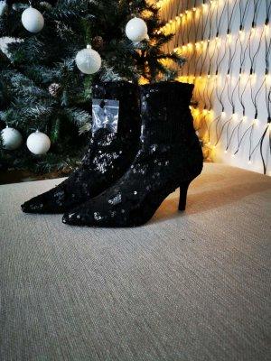 Zara, Stiefeletten schwarz mit pailletten Neu