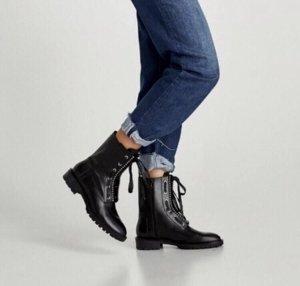Zara Woman Bottes à lacets noir-argenté cuir
