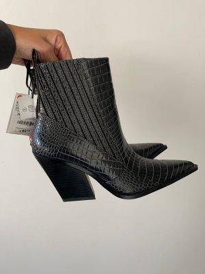 Zara Botki w stylu western szary-ciemnoszary
