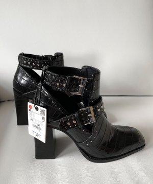 Zara Cut out boots zwart-zilver