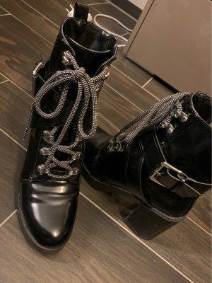 Zara Trafaluc Lace-up Booties black