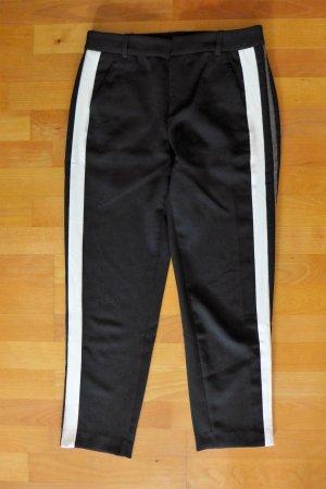 Zara Stoff Hose sportlich schwarz Streifen weiß grau Gr. XS 34