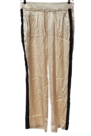 Zara Stoffhose creme-schwarz Casual-Look