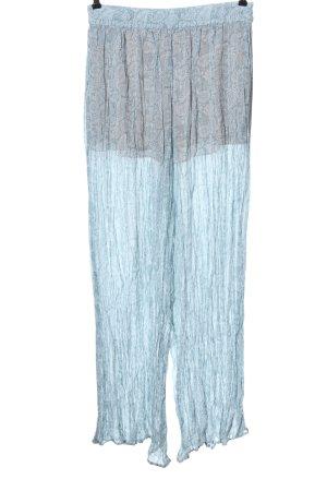 Zara Stoffhose blau-weiß Allover-Druck Casual-Look
