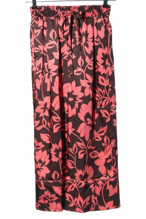 Zara Stoffhose braun-pink Allover-Druck Casual-Look
