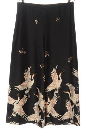 Zara Stoffhose schwarz Motivdruck Elegant