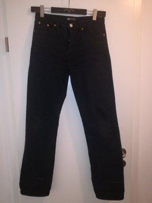 Zara Jeansy z prostymi nogawkami czarny Bawełna