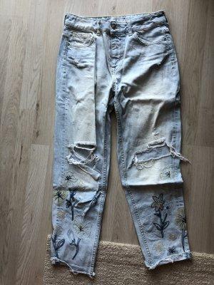 Zara Basic Jeansy z prostymi nogawkami jasnoniebieski