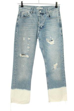 Zara Straight-Leg Jeans blau-creme Farbverlauf Casual-Look
