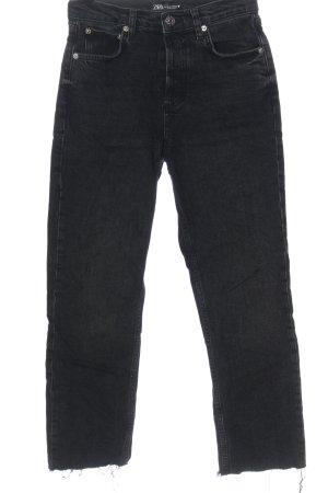 Zara Jeansy z prostymi nogawkami czarny Wzór w paski W stylu casual