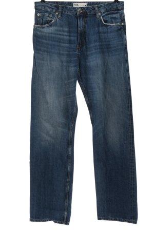 Zara Jeansy z prostymi nogawkami niebieski W stylu casual