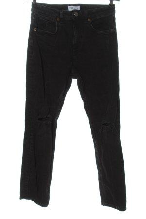 Zara Jeansy z prostymi nogawkami jasnoszary W stylu casual