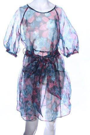 Zara Strandkleid blau-pink Blumenmuster Casual-Look