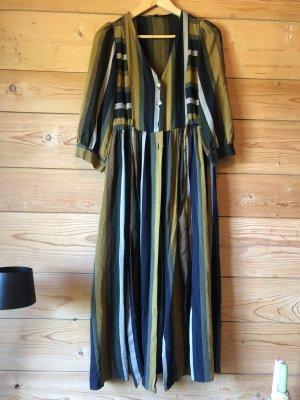 Zara Streifen Knöpfe Kleid mit Taschen zum binden  multicoloured