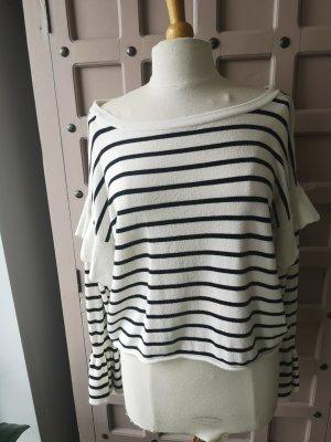 Zara Knit Pull oversize blanc-noir