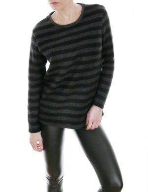 ZARA Streifen Pullover schwarz-grau