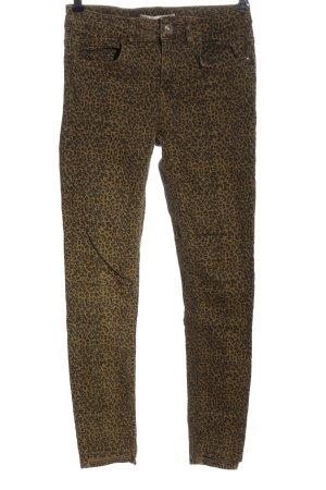 Zara Stretch Jeans bronzefarben-schwarz Leomuster Casual-Look