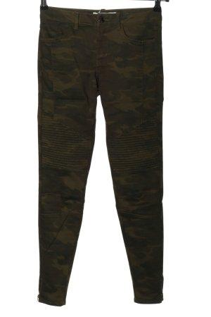 Zara Stretch Jeans braun-khaki Allover-Druck Casual-Look
