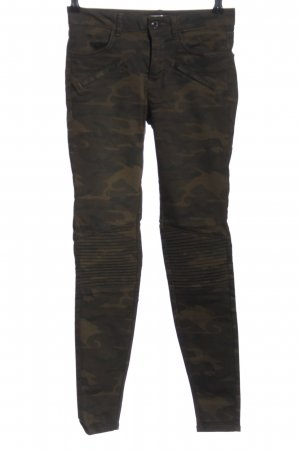 Zara Stretchhose braun-khaki Camouflagemuster Casual-Look