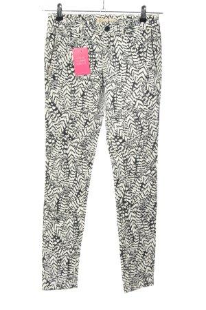 Zara Pantalone elasticizzato bianco-nero motivo astratto stile casual
