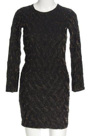 Zara Stretchkleid bronzefarben-schwarz abstraktes Muster Elegant