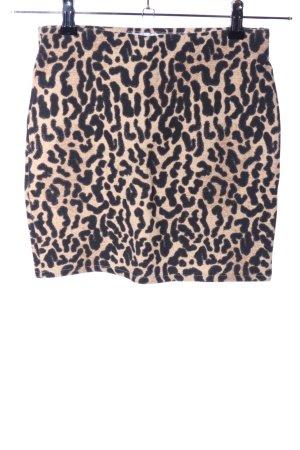 Zara Stretchrock creme-schwarz Animalmuster Casual-Look