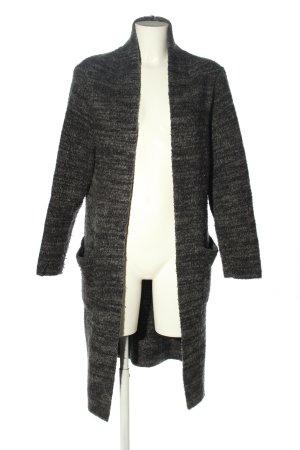Zara Strick Cardigan schwarz-creme meliert Casual-Look