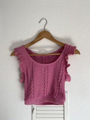 Zara Strick Crop pink top S Volants neu