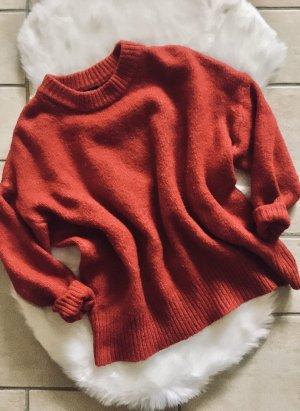 Zara Strick Knit Oversize Pulli rot Gr. S