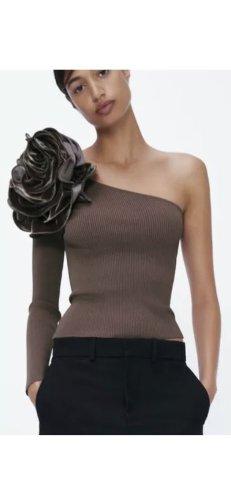 Zara Cárdigan de manga corta marrón oscuro-marrón