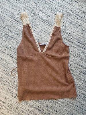Zara Top lavorato a maglia rosa antico