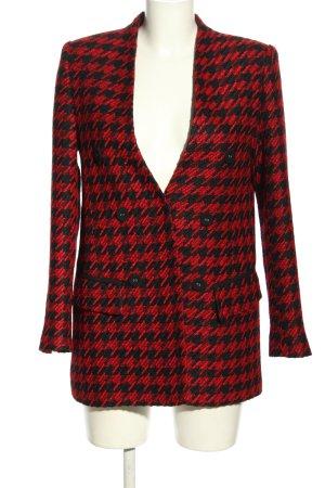 Zara Strickblazer rot-schwarz Allover-Druck Business-Look