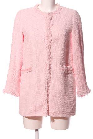 Zara Knitted Blazer pink weave pattern casual look