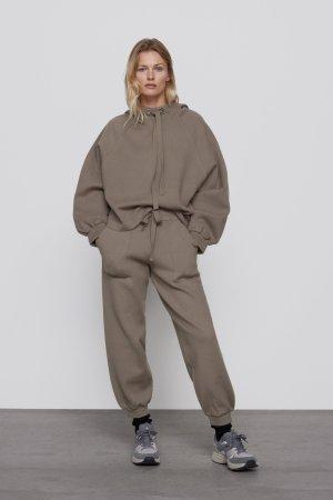 Zara Wełniane spodnie taupe-szaro-brązowy