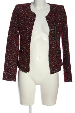 Zara Veste en tricot rouge-noir Motif de tissage style décontracté