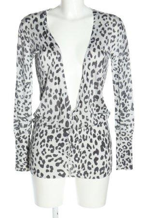 Zara Strickjacke weiß-schwarz Allover-Druck Elegant